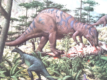 The marx allosaurus first appeared in 1955 for Age of reptiles mural