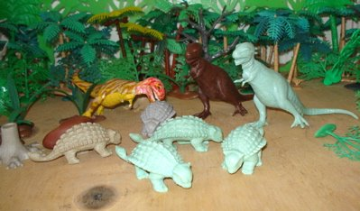 MARX Ankylosaurus T-Rex Dinosaur Toys