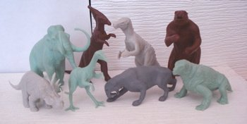 second series mold group, dinosaur toys, marx toys